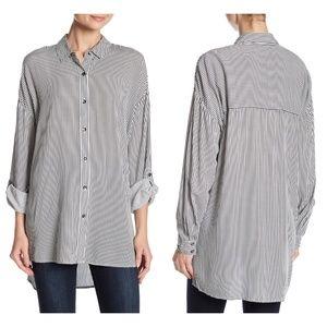 Splendid   Striped Boyfriend Button Tunic Shirt